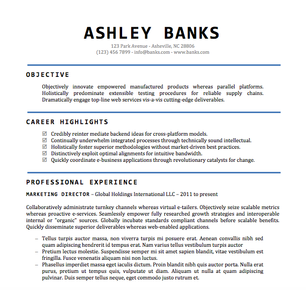 resume example word document - Resume Examples Word